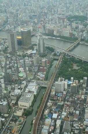 北十間川から隅田川 アサヒグループ本社ビルとスーパードライホール.jpg